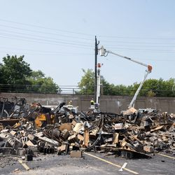 The burned down Department of Corrections building is seen in this photo Tuesday afternoon, Aug. 25, 2020. The building was set on fire following the shooting of Jacob Blake by a police officer in Kenosha Sunday.
