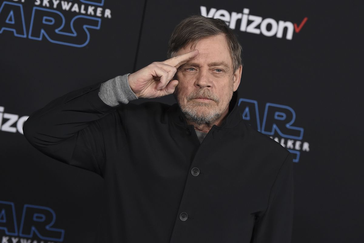 """In this Dec. 16, 2019, file photo, Mark Hamill arrives at the world premiere of """"Star Wars: The Rise of Skywalker"""" in Los Angeles."""