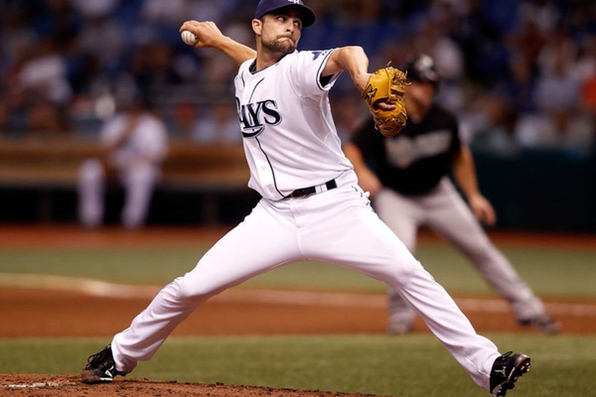 ST. PETERSBURG - JUNE 11:  Pitcher Andy Sonnanstine #21 of the Tampa Bay Rays pitches against the Florida Marlins during the game at Tropicana Field on June 11, 2010 in St. Petersburg, Florida.  (Photo by J. Meric/Getty Images)
