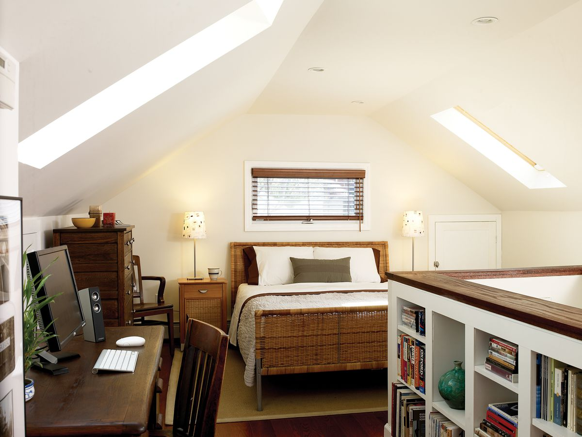 attic bedroom with built-in shelves and skylight