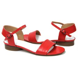 """<b>Maison Martin Margiela</b> Leather Ankle Wrap Sandal at <b>The Tannery</b>, <a href=""""http://curatedbythetannery.com/collections/maison-martin-margiela/products/leather-ankle-strap-sandal-red"""">$570</a>"""