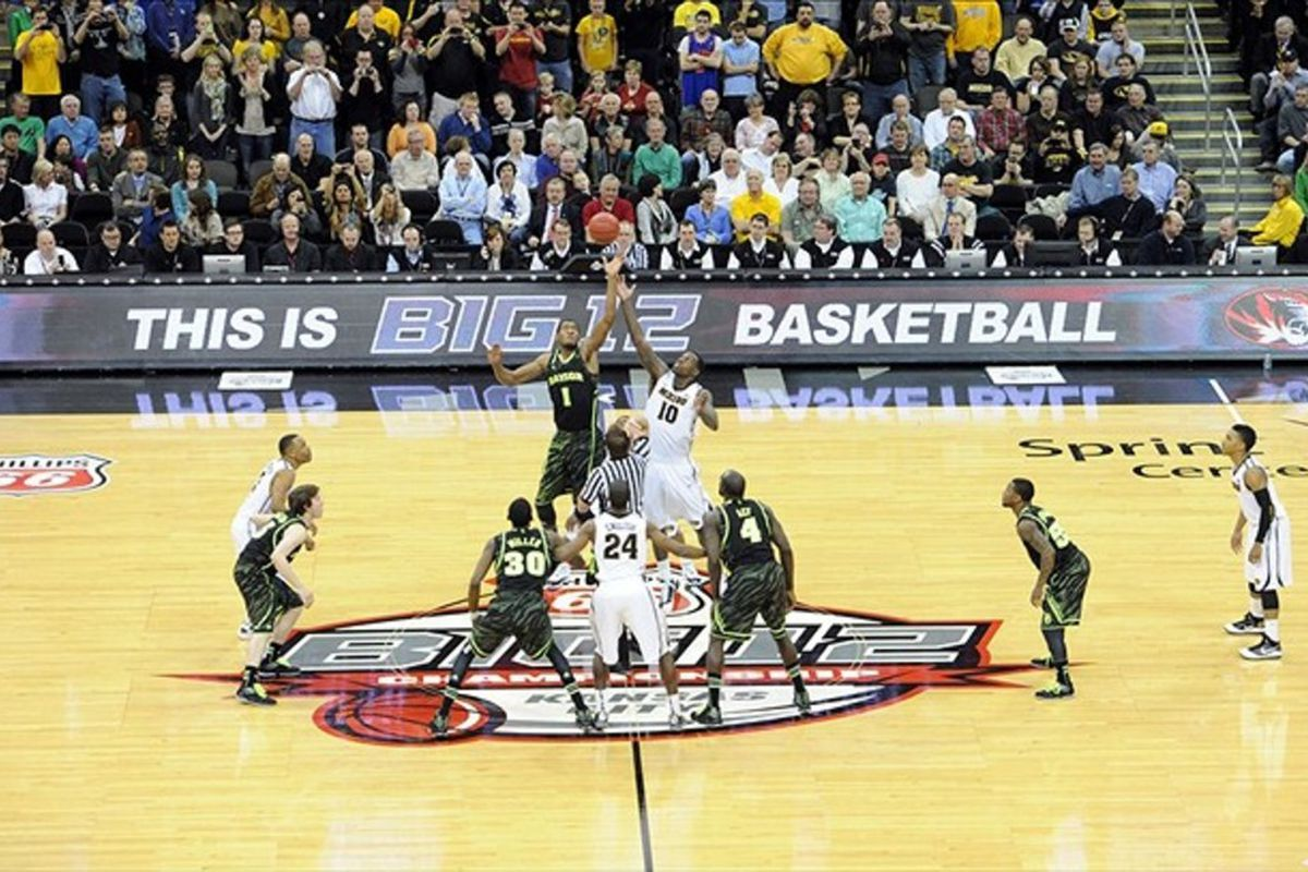 Mar 10, 2012; Kansas City, MO, USA; The opening tip-off of the Championship game between the Missouri Tigers and Baylor Bears during the finals of the Big 12 Tournament at the Sprint Center. Mandatory Credit: Peter G. Aiken-US PRESSWIRE