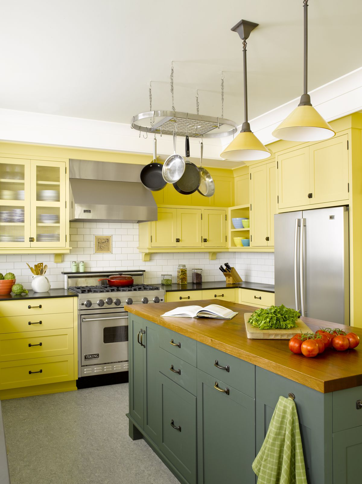 Update craftsman style wood countertop in colorful kitchen.