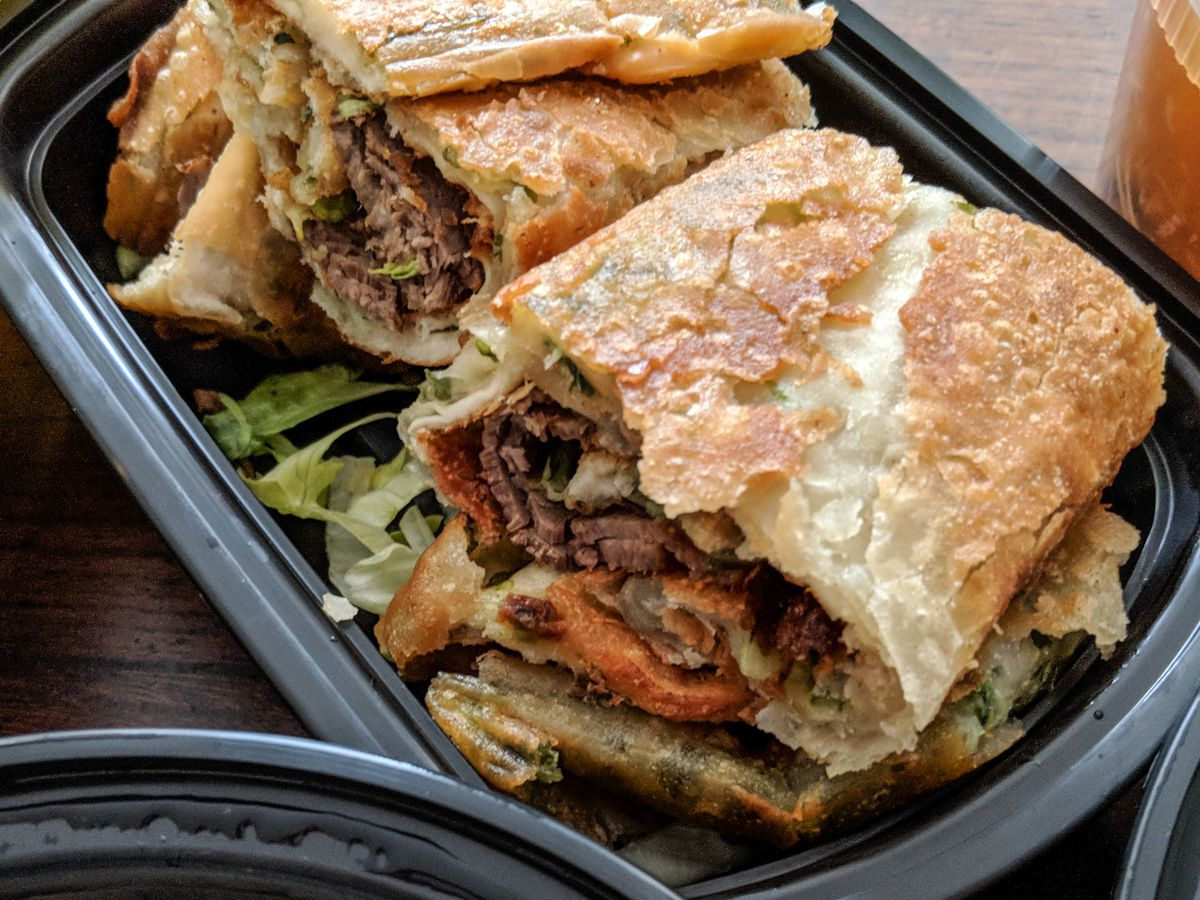 Roast beef with scallion pancake, delivered from Dumpling Kitchen