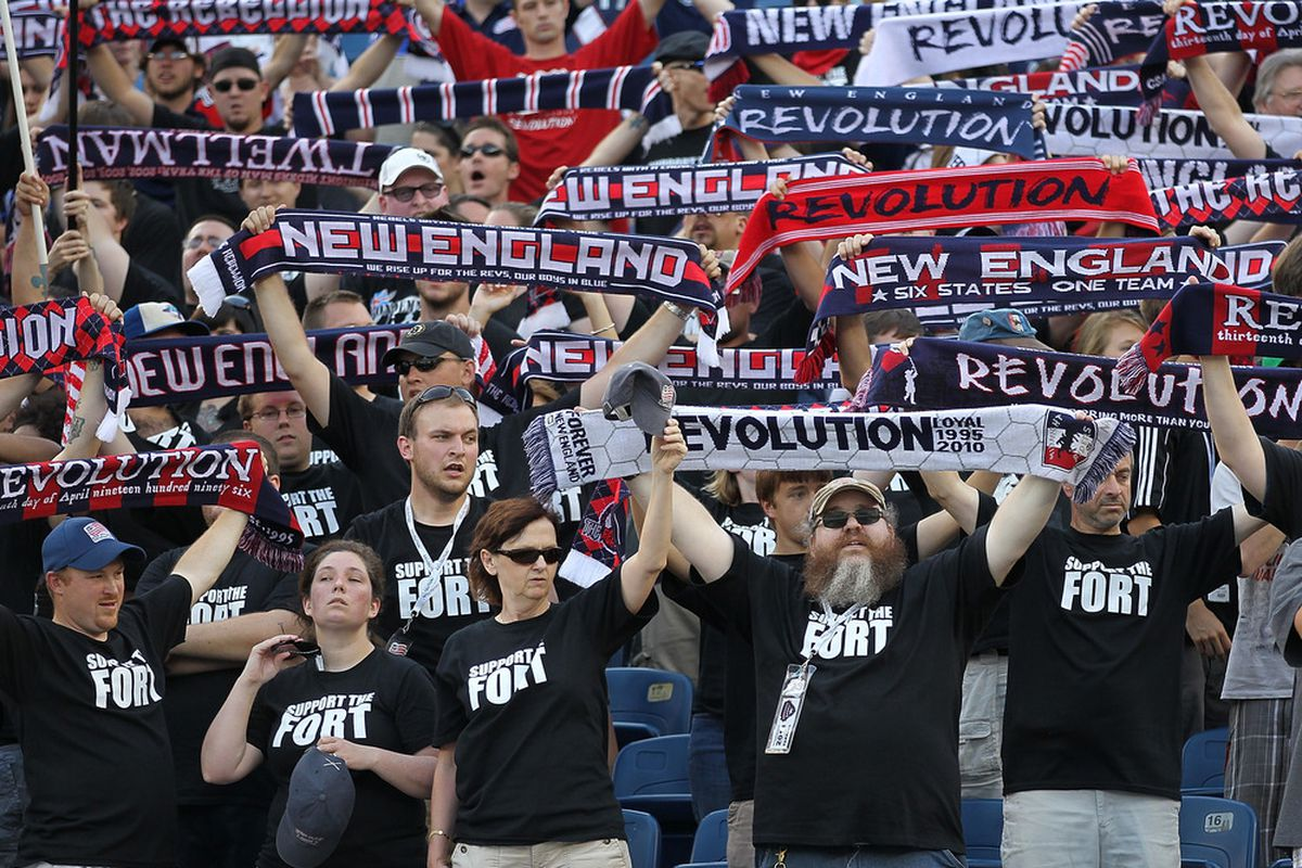 FOXBORO, MA - JULY 17:  Fans of the New England Revolution show their support before a game against Philadelphia Union at Gillette Stadium on July 17, 2011 in Foxboro, Massachusetts. (Photo by Jim Rogash/Getty Images)