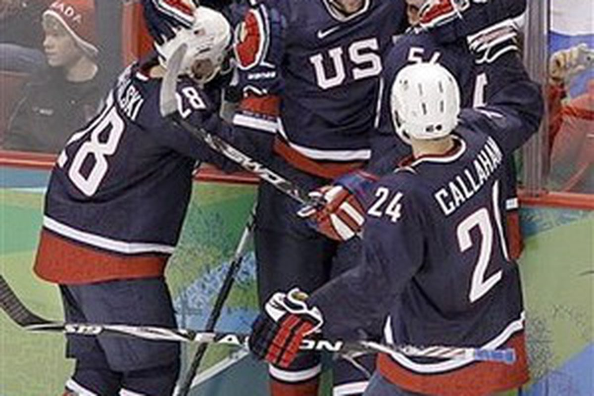 Team USA gets together to plan their post-game party.