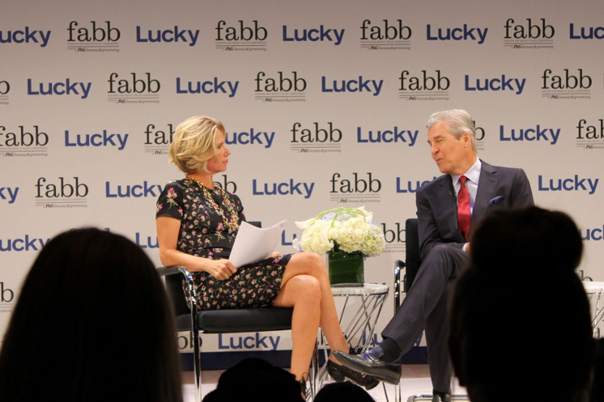 """Lucky EIC Brandon Holley onstage at a FABB conference in NYC. Photo via <a href=""""http://www.bedazzlesafterdark.com/2012/09/bad-in-nyc-lucky-fabb-2012-photos.html"""">Bedazzles After Dark</a>."""