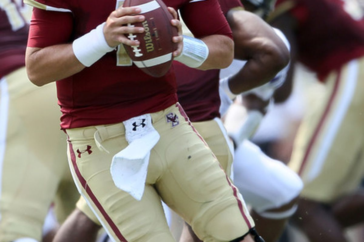 CHESTNUT HILL, MA - SEPTEMBER 03:  Chase Rettig #11 of the Boston College Eagles looks to pass in the first half against the Northwestern Wildcats on September 3, 2011 at Alumni Stadium in Chestnut Hill, Massachusetts.  (Photo by Elsa/Getty Images)
