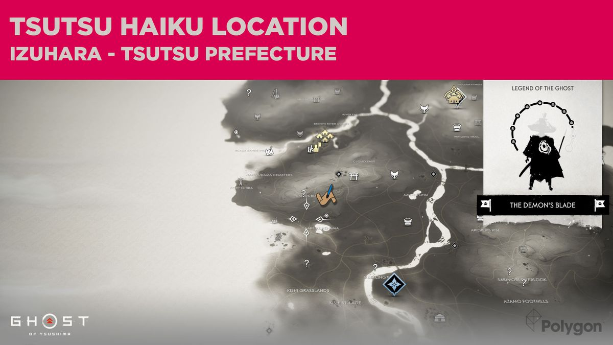 The Tsutsu haiku location in Ghost of Tsushima