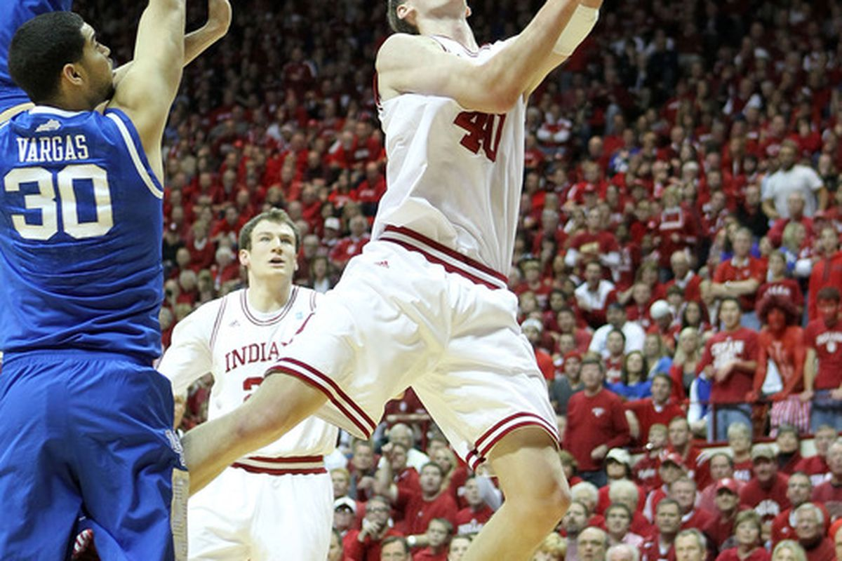 BLOOMINGTON, IN - DECEMBER 10:  Cody Zeller #40 of the Indiana Hoosiers shoots the ball during the Indiana 73-72 victory over the Kentucky Wildcats at Assembly Hall on December 10, 2011 in Bloomington, Indiana.  (Photo by Andy Lyons/Getty Images)