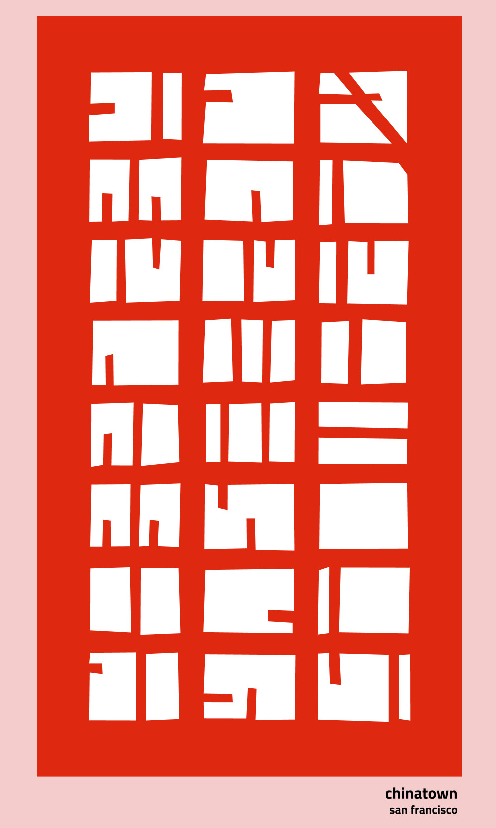 A map of Chinatown, rendered as nothing but red lines and solid blocks of color.