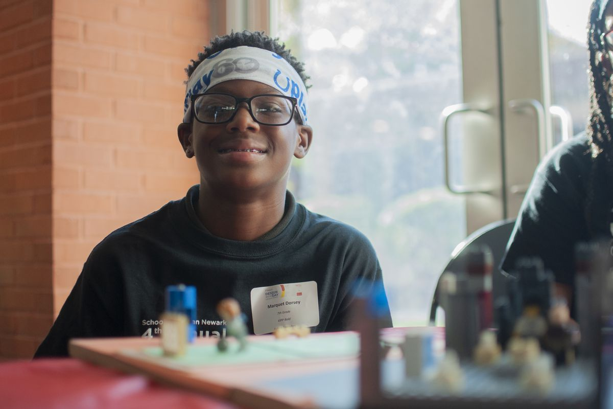 """Marquet Dorsey, a seventh grader at KIPP Bold charter school, was a member of the team that won the """"People's Choice"""" award at Design Day."""