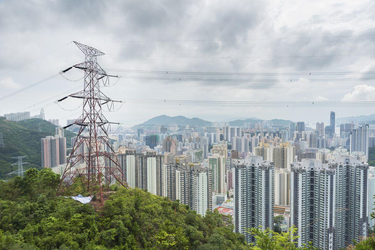 a transmission tower outside hong kong