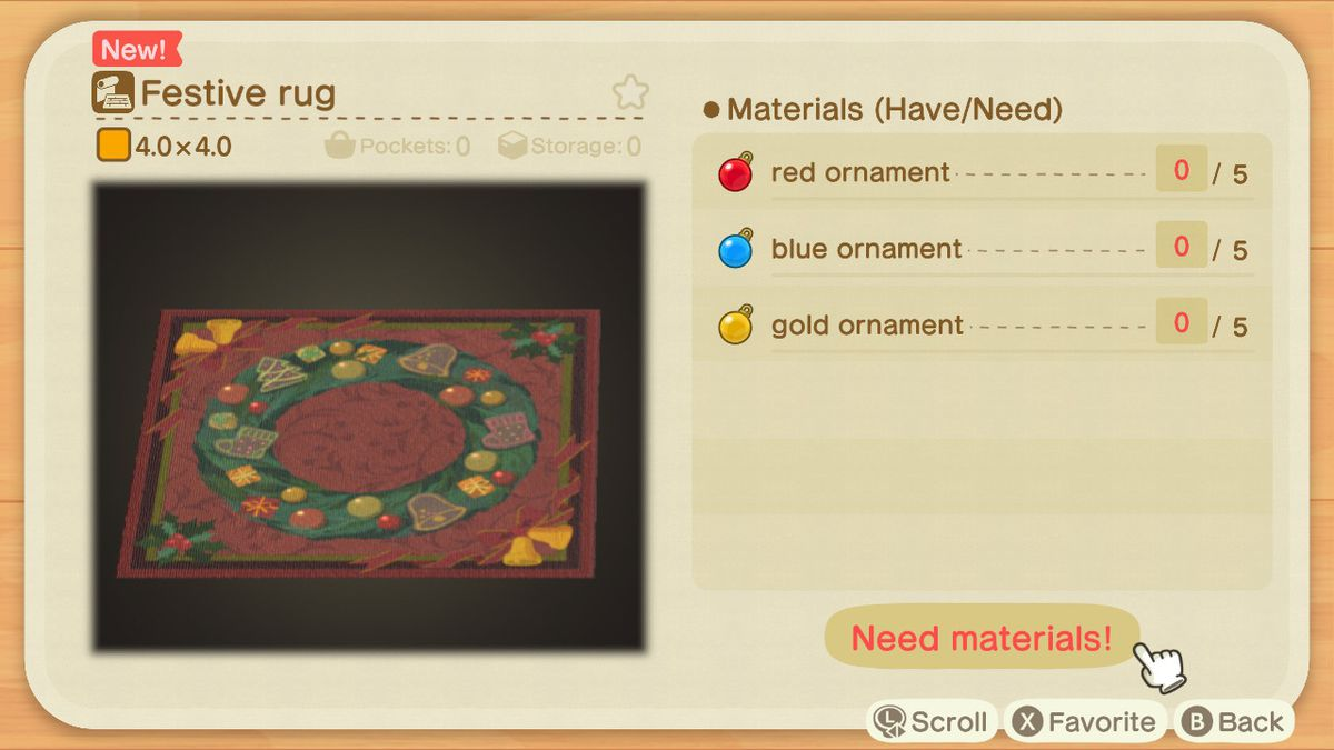 An Animal Crossing recipe for a Festive Rug