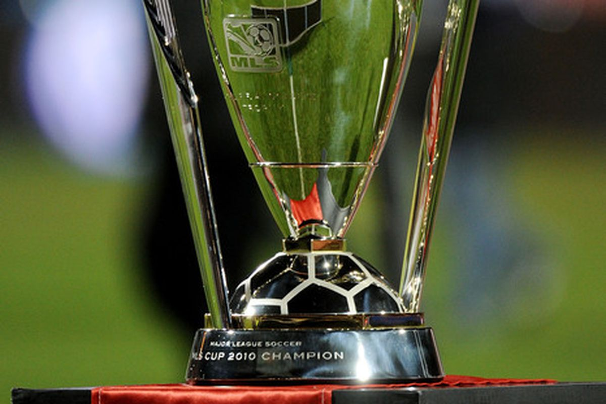 TORONTO ON - NOVEMBER 21:  The Philip F. Anschutz Trophy is seen after the Colorado Rapids defeated FC Dallas 2-1 in overtime of the 2010 MLS Cup match at BMO Field on November 21 2010 in Toronto Canada.  (Photo by Harry How/Getty Images)