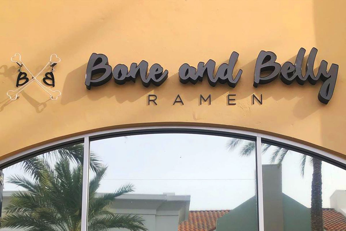 The exterior of Bone and Belly Ramen, replacing Zero Degrees at The District at Green Valley Ranch.