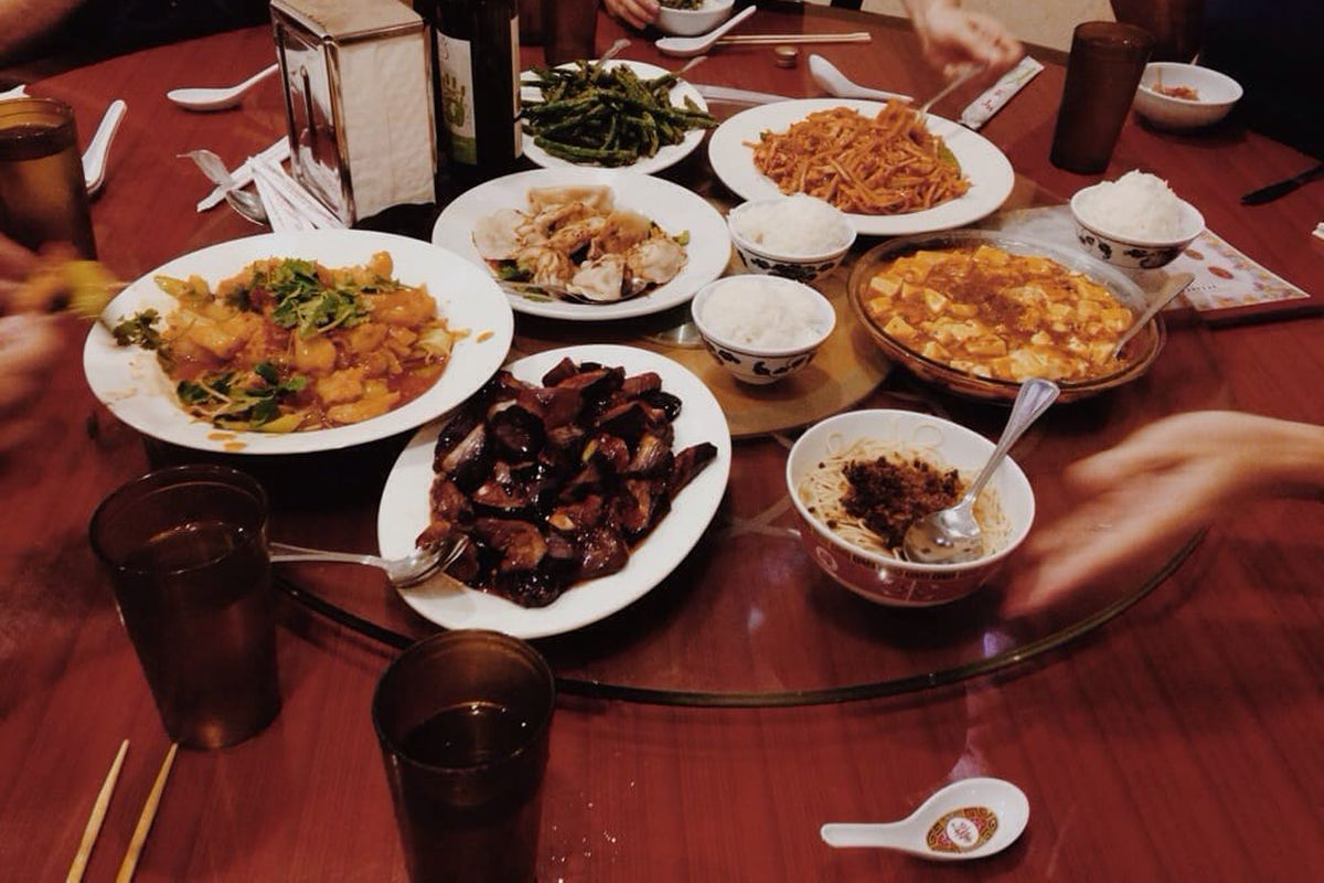 A table full of Chinese food