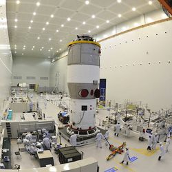 Researchers testing China's first space station module Tiangong-1.   Color China Photo via AP file photo