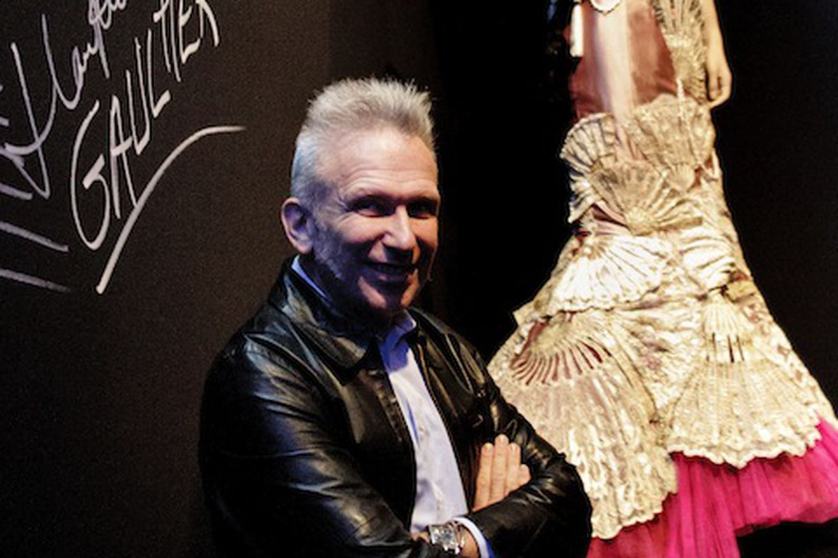 Jean Paul Gaultier at the exhibit in Madrid. Image via Getty