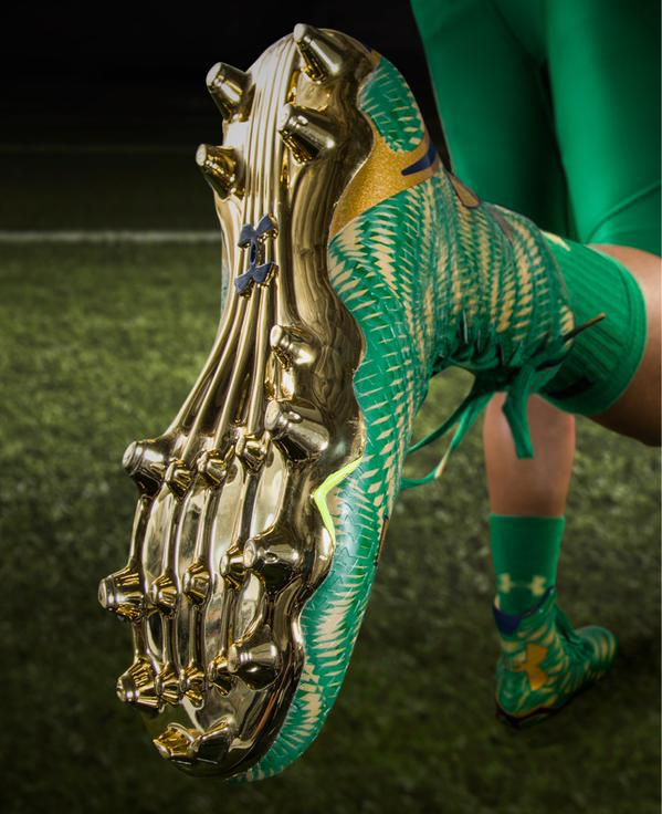 dca4c2d50 The socks and cleats are the same color as the uniform with some gold  accents thrown in. The socks lack a stripe and are solid green with the  exception of a ...