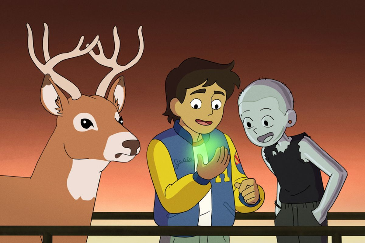 Jesse excitedly looks at his hand, MT looking over his shoulder. Next to them, Alan Dracula the deer looks on