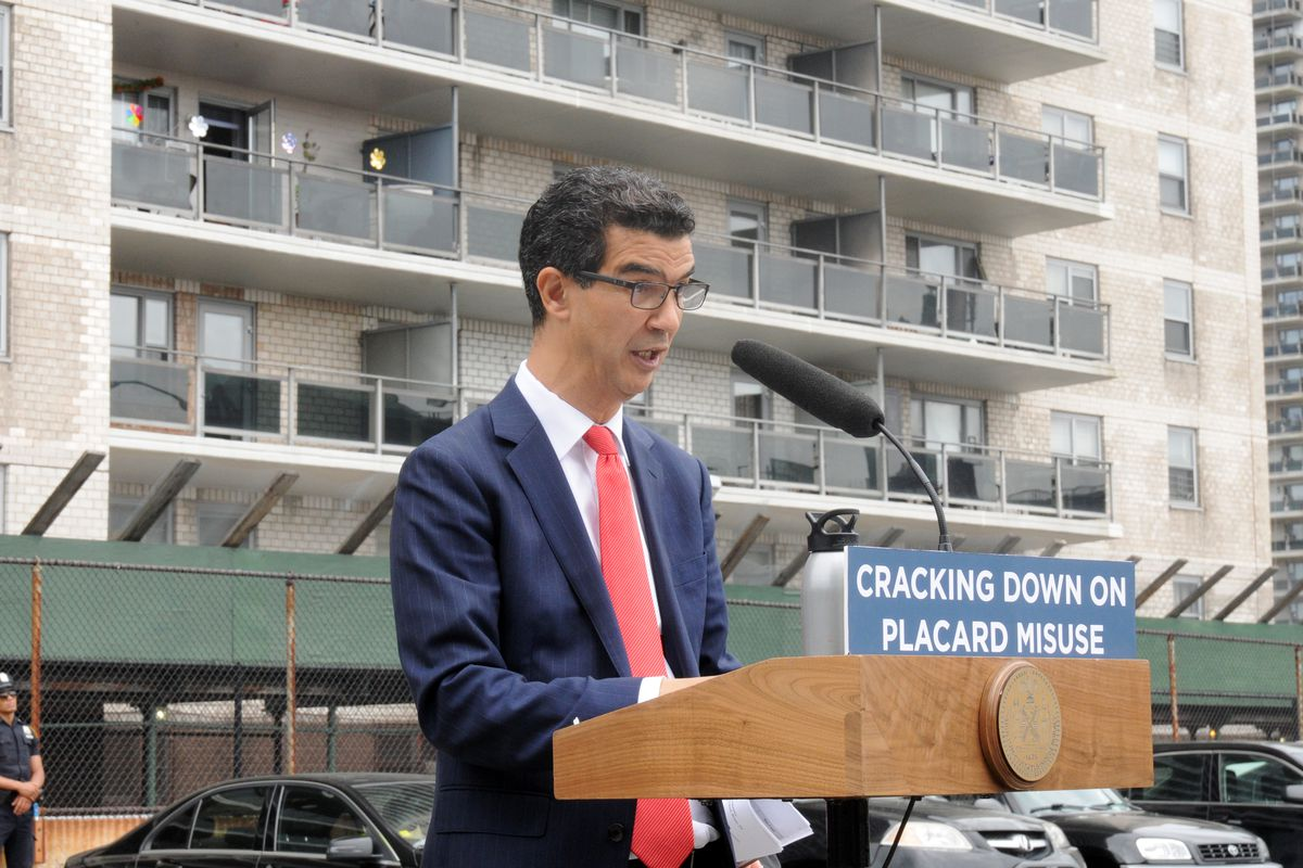Councilmember Ydanis Rodriguez (D-Manhattan) speaks at a 2017 press conference about cracking down on placard abuse.