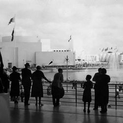"""View from inside the French Pavilion by <a href=""""http://www.worldsfaircommunity.org/topic/9931-1939-worlds-fair-french-pavilion/"""">World's Fair Community</a>."""
