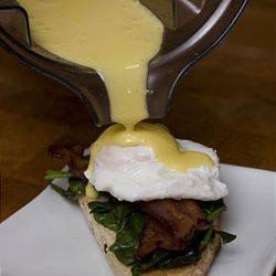 This photo shows a Hollandaise Sauce made with a blender. While traditional tools and techniques were at the forefront of Julia Child's teaching she was not adverse to embracing anything that will help a home cook be more successful.