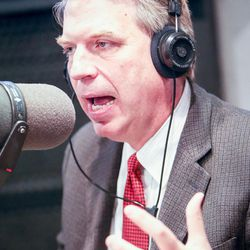 United Utah's Jim Bennett answers a question during an on-air debate between 3rd Congressional District candidates hosted by KSL Newsradio in Salt Lake City on Tuesday, Oct. 10, 2017. Bennett is vying to fill the remaining year of former GOP Rep. Jason Chaffetz's term. Chaffetz, now a Fox News contributor, resigned June 30.