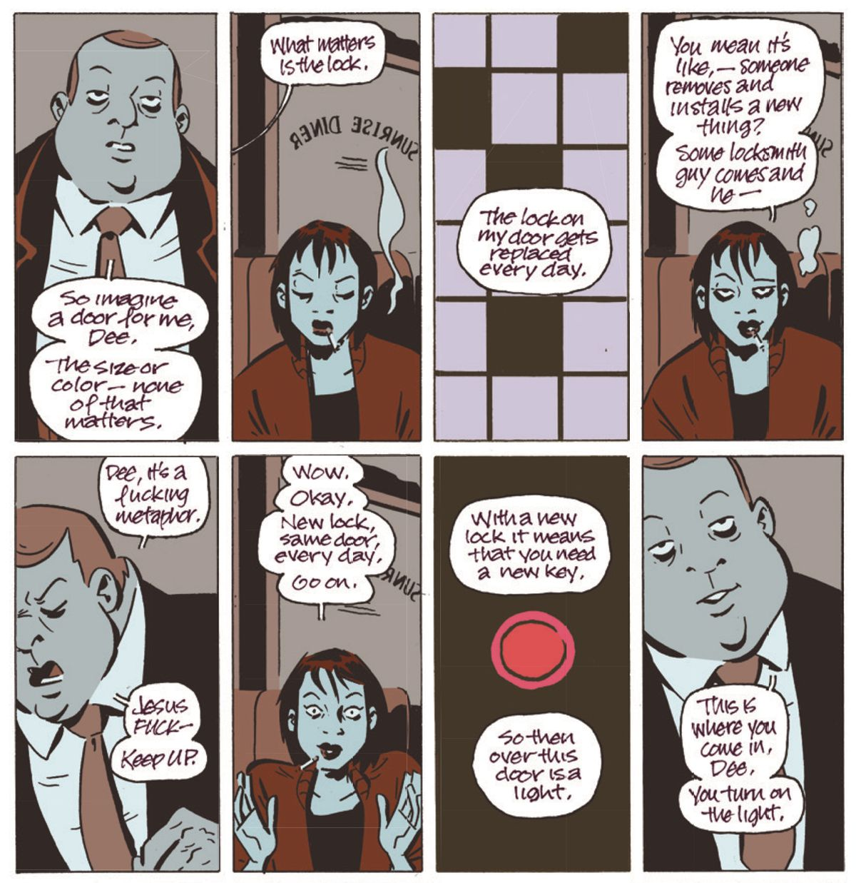 A strange man in a suit explains the strange and probably illegal job he needs Dee to do, in November Vol. 1: The Girl on the Roof/Image Comics.