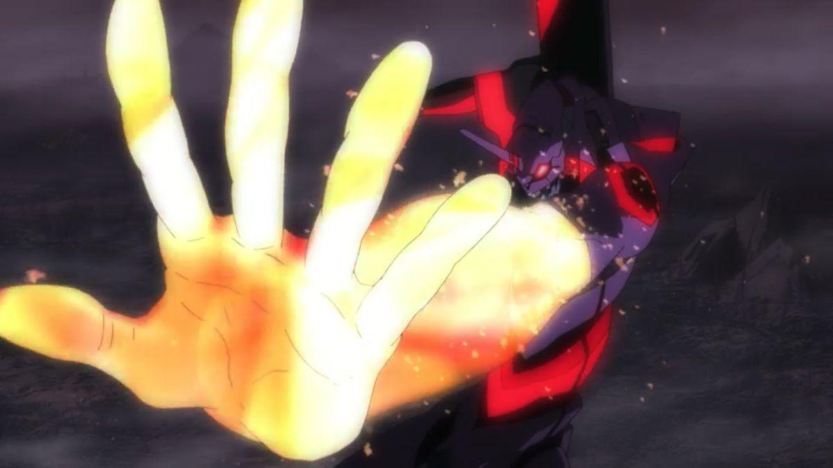 Shinji's Eva transforms at the end of Evangelion 2.22