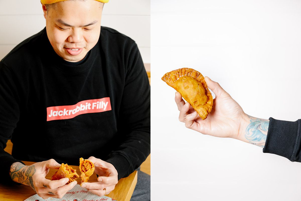 chef eating a handpie