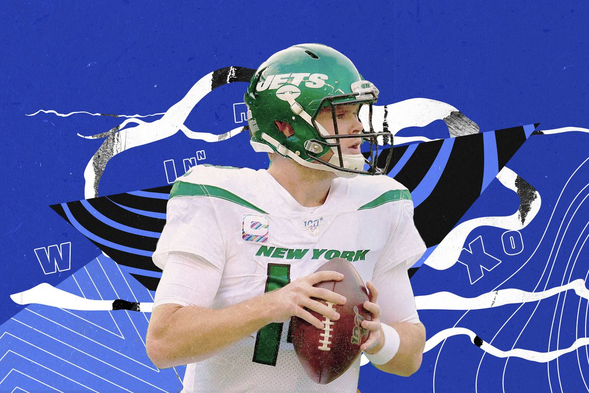 Jets QB Sam Darnold looks downfield holding a football, with a blue illustrated background