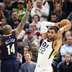 Utah Jazz forward Thabo Sefolosha (22) tries to pass the ball as New Orleans Pelicans guard Jameer Nelson (14) applies pressure as Utah hosts New Orleans at Vivint Arena in Salt Lake on Friday, Dec. 1, 2017.
