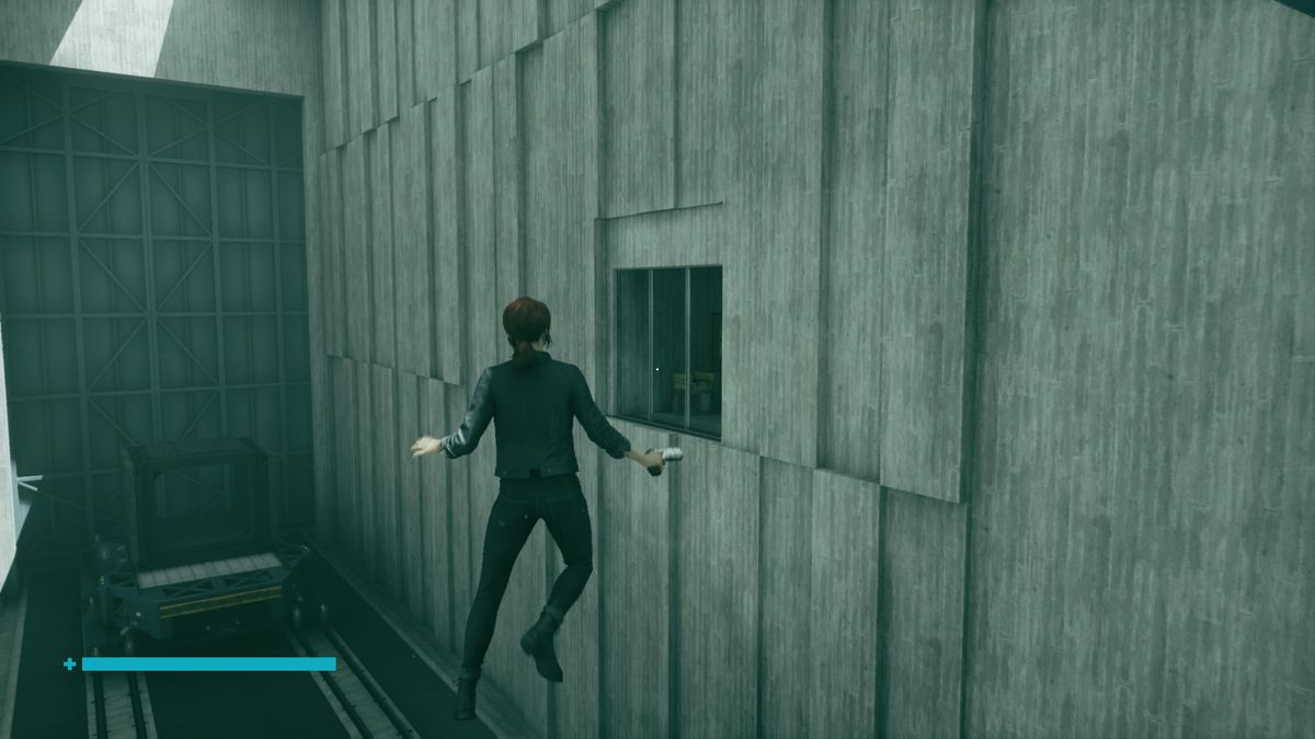 A levitating woman near a glass window