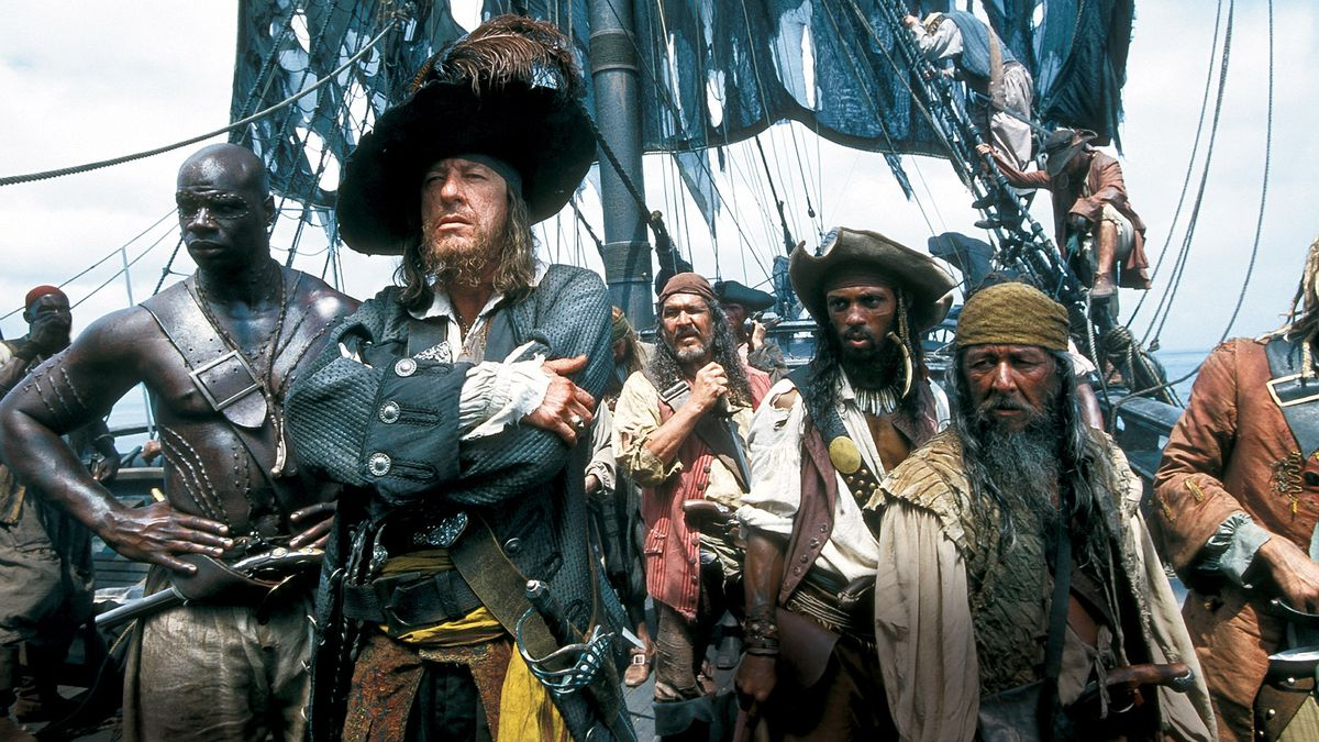 Barbossa (Geoffrey Rush) and his crew.