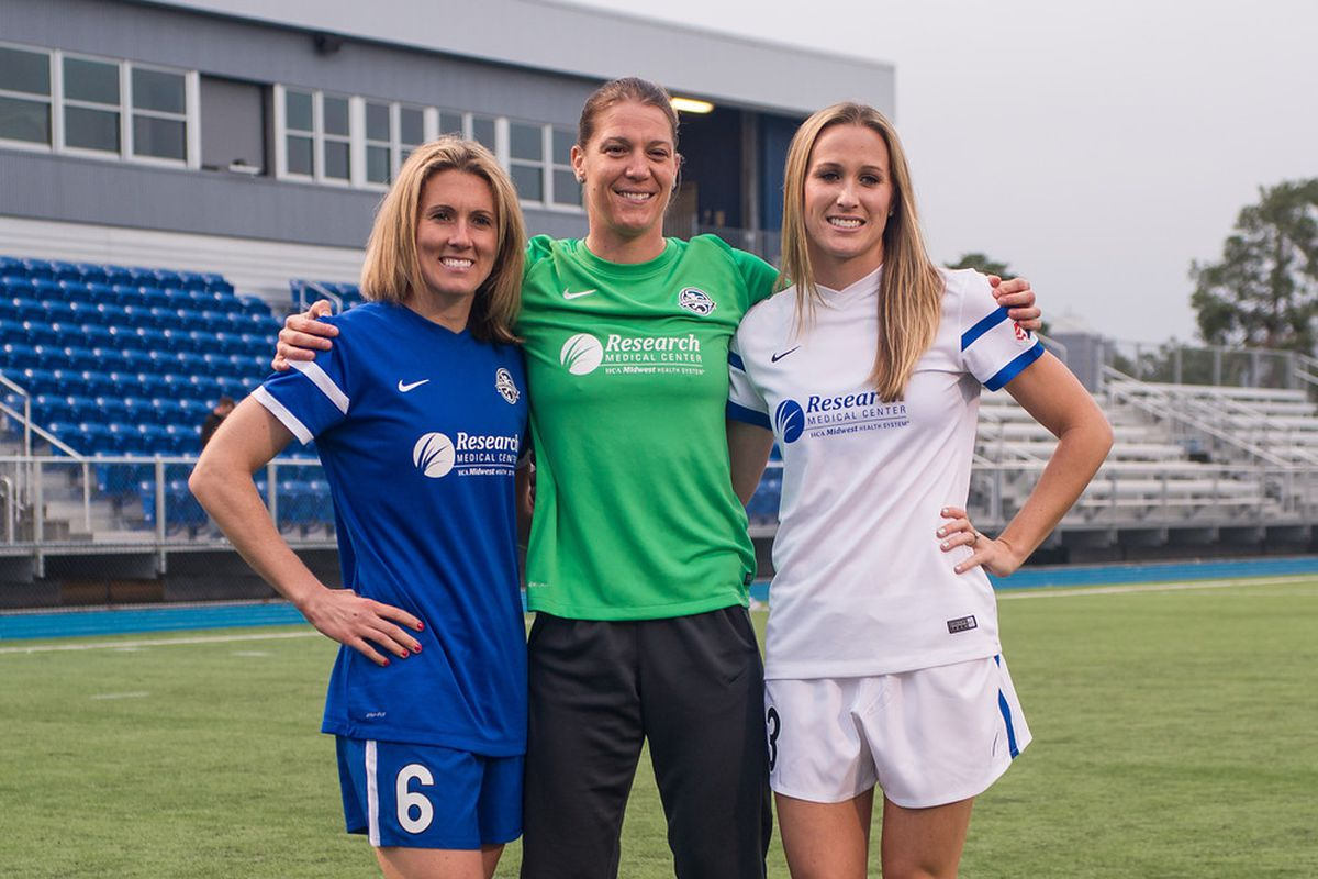 FC Kansas City players displaying the new kits in their new stadium