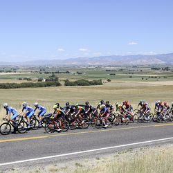Cyclists compete in Stage 1 of the Tour of Utah, riding up the King of the Mountain section, outside of Trenton, Cache County, on Tuesday, Aug. 13, 2019.