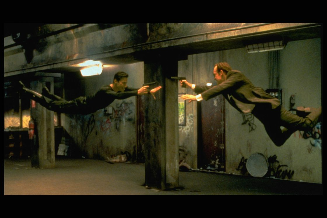 Neo and Agent Smith face off in the film's climactic battle.