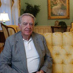 """Myron Walker, husband of Utah Gov. Olene Walker, relaxes in the Governor's Mansion. The retired businessman is one of four men in the nation married to a sitting governor, and """"I am both ready and capable to serve"""" the people of Utah, he says."""