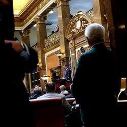 House Speaker Greg Hughes, R-Draper, addresses legislators in the House of Representatives on the first day of the Utah Legislature at the Capitol in Salt Lake City on Monday, Jan. 25, 2016.