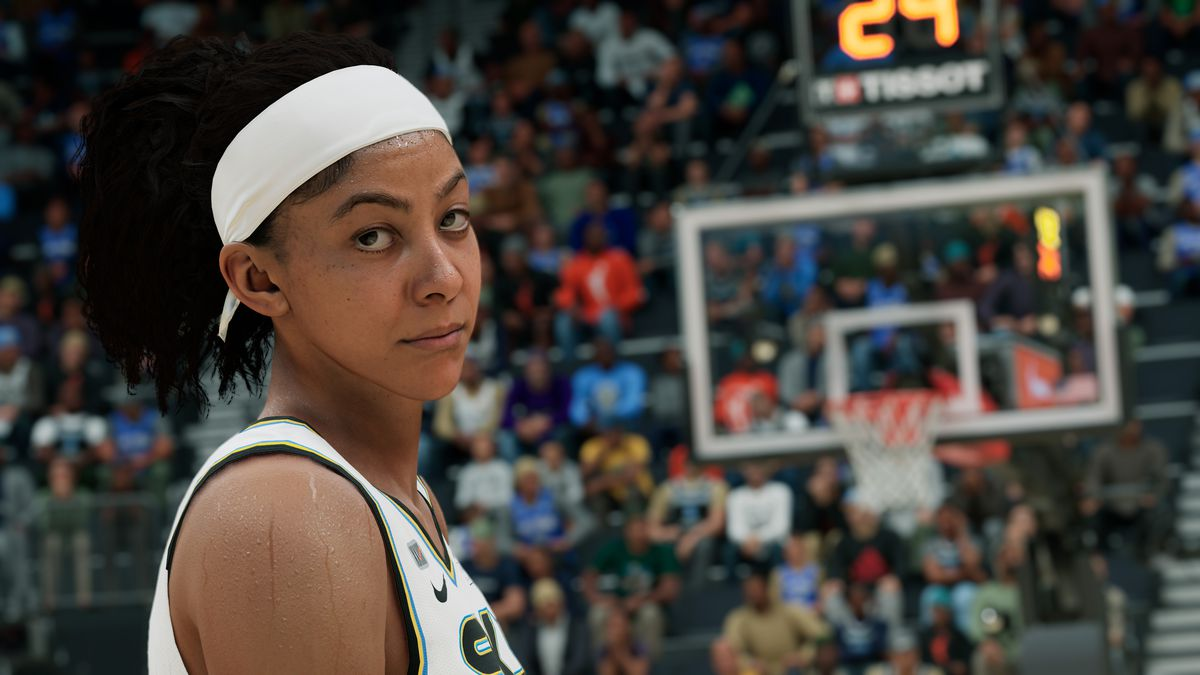 Candace Parker with a backboard behind her in NBA 2K22
