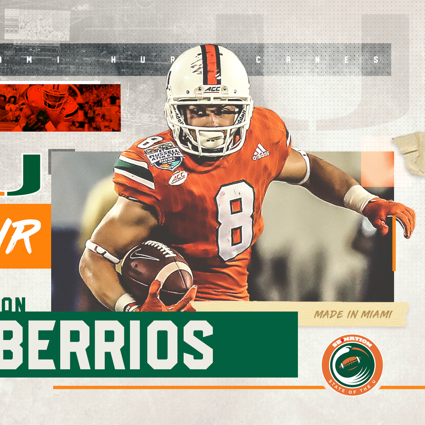 new style a912e 409f2 2018 NFL Draft: Miami Hurricanes WR Braxton Berrios Drafted ...