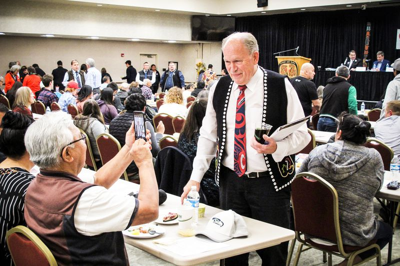 Alaska Gov. Bill Walker poses for a photo before the start of a gubernatorial candidate forum on Oct. 2, 2018, in Juneau, Alaska.