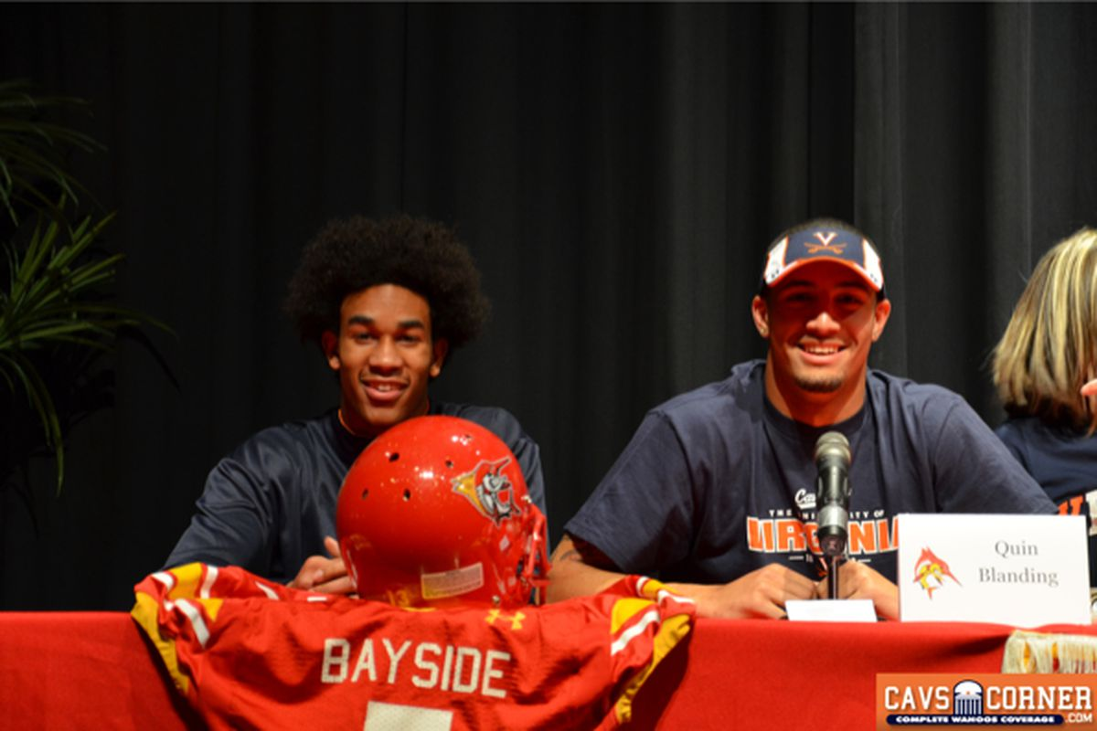 2014 5-star Safety and UVa commit Quin Blanding (right) with Cavaliers' QB signee Corwin Cutler