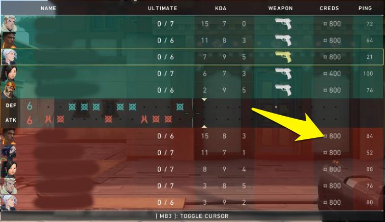 Enemy Creds on the Valorant scoreboard