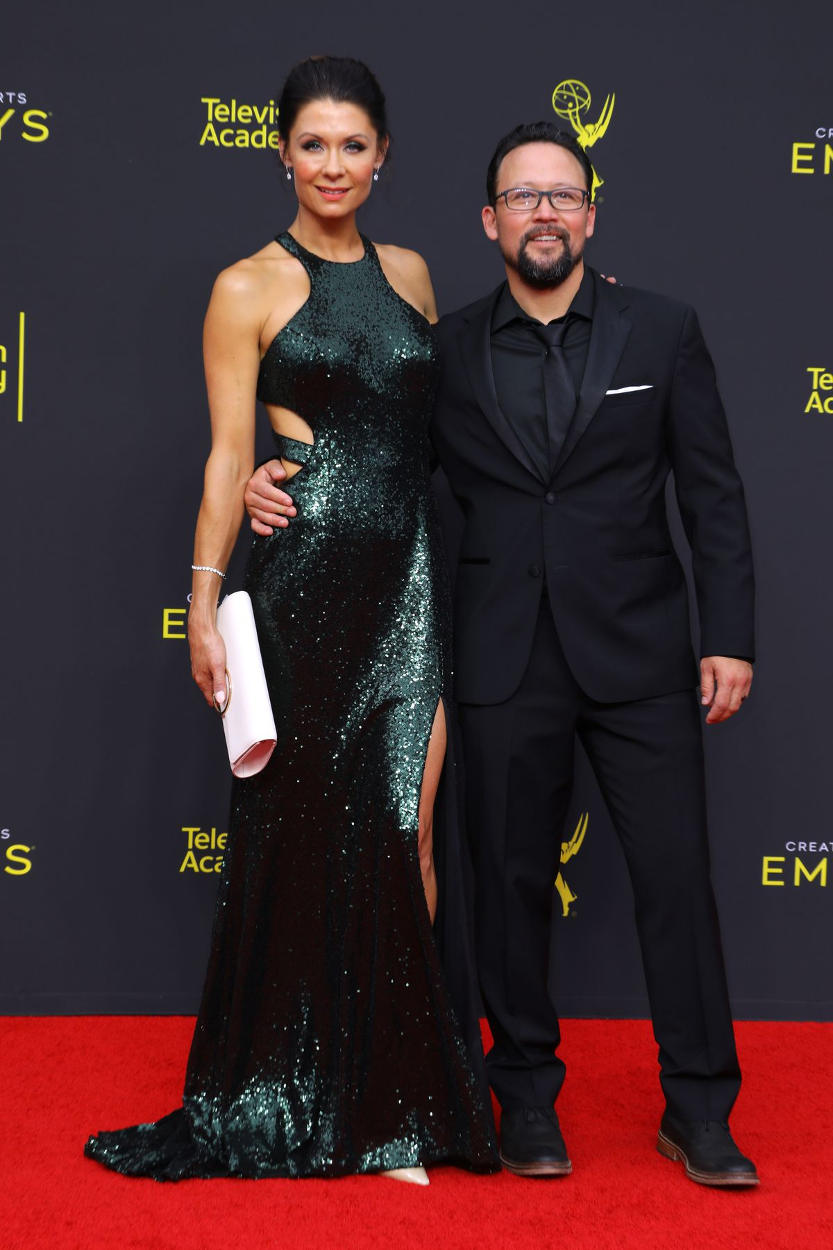 Jahnel Curfman and Hiro Koda attends the 2019 Creative Arts Emmy Awards on September 15, 2019 in Los Angeles, California.