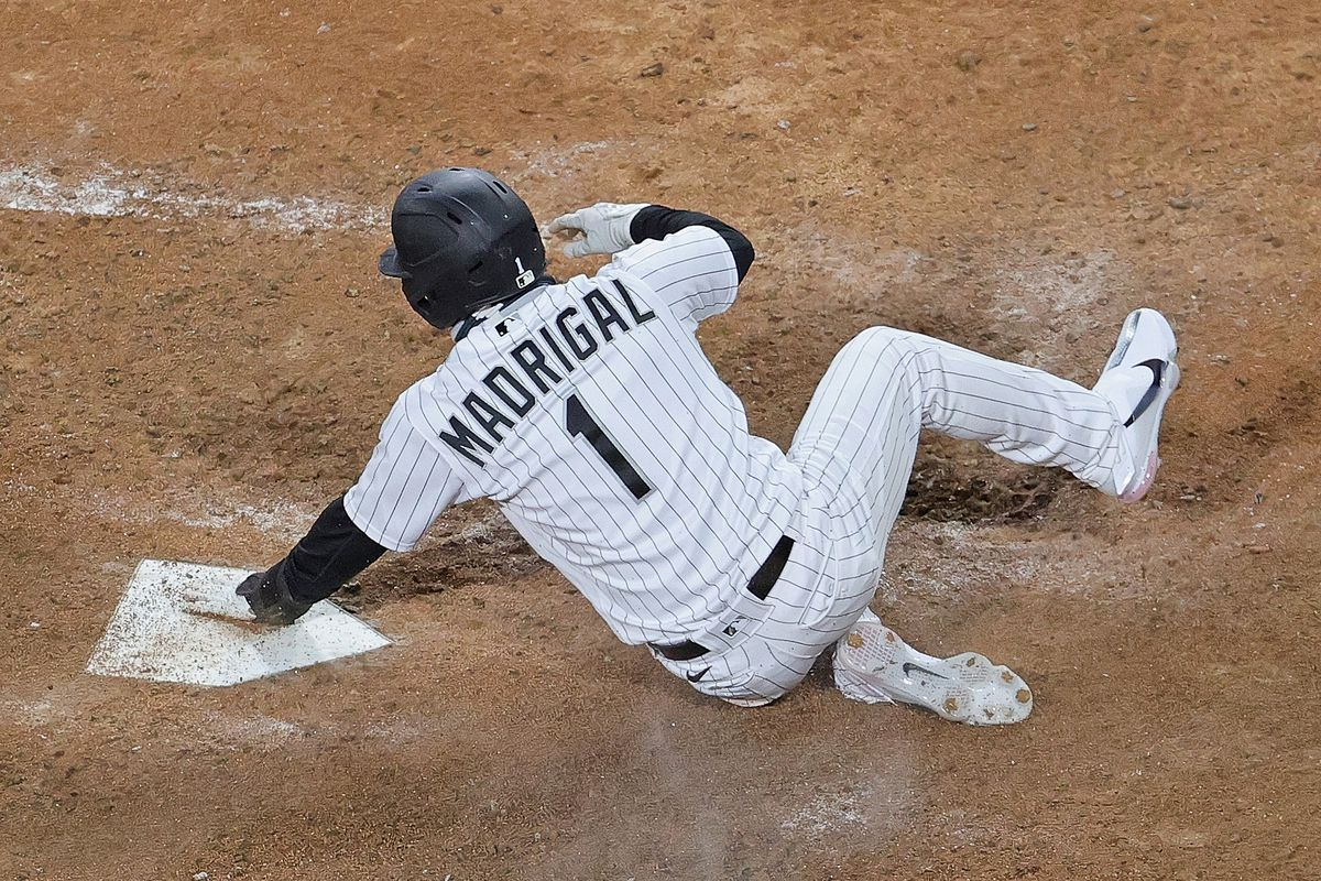 The White Sox' Nick Madrigal scores the game-winning run in the bottom of the ninth inning against the Indians at Guaranteed Rate Field on Monday night. The White Sox defeated the Indians 4-3.