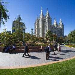 The Salt Lake Temple during the morning session of the 183rd Semiannual General Conference for The Church of Jesus Christ of Latter-day Saints Sunday, Oct. 6, 2013.