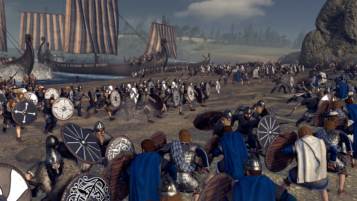Total War Saga: Thrones of Britannia - battle on a beach with Viking boats in the background